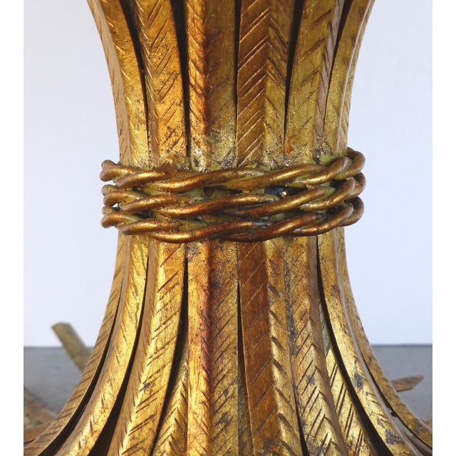 """Italian Gilt Iron """"Coco Chanel"""" Style Wheat Sheaf Coffee Table For Sale - Image 5 of 10"""