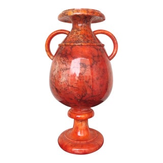 Classicist Italian Salamander Orange Alabaster Vase For Sale