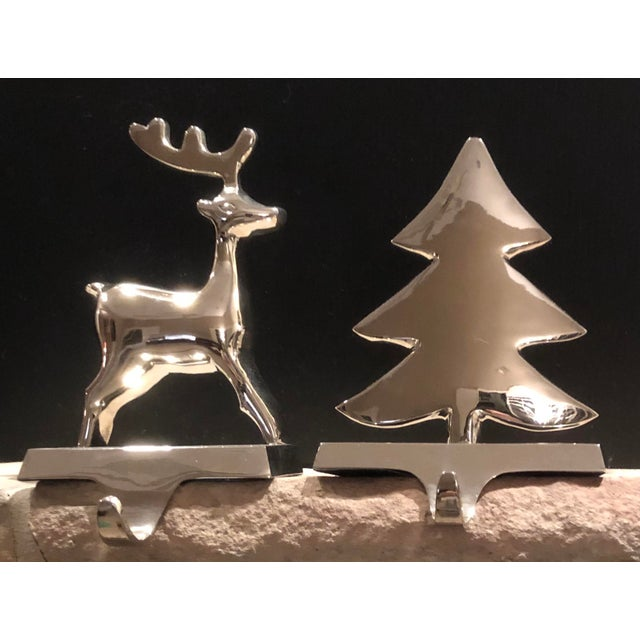 Vintage Silver Stocking Hooks Pottery Barn Hangers Snowman and Tree - Set of 2 For Sale - Image 13 of 13
