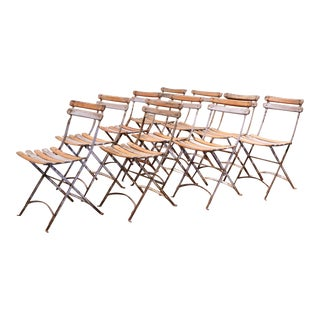 1920s French Iron and Wood Painted Folding Bistrot Chairs, Set of Ten For Sale