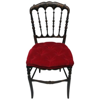 Antique English Chiavari Black Wood and Red Velvet Chair For Sale