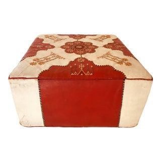 Large Vintage Moroccan Red and White Leather Rectangular Ottoman For Sale
