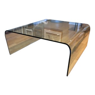 Italian Mid-Century Modern Glass Waterfall Coffee Table For Sale