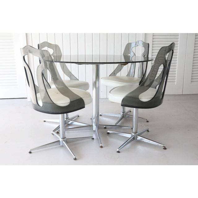 Mid-Century Modern 1970's Space Age Modern Smoked Lucite and Chrome Dining Set - 5 Pieces For Sale - Image 3 of 13