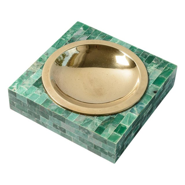 Metal Mid-Century Tessellated Green Stone Catchall, Manner or Karl Springer, C.1970 For Sale - Image 7 of 7
