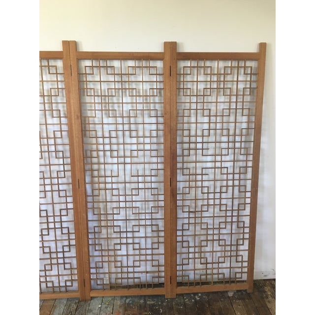 Mid-Century Teak 4 Panel Screen For Sale - Image 5 of 10