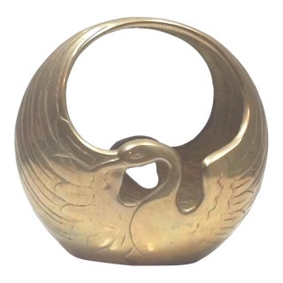 Hollywood Regency Brass Swan Cachepot For Sale