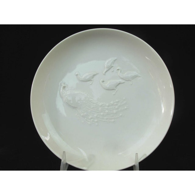 KPM Porcelain Vintage Arkadia KPM White Porcelain Birds Peacock Duck Heron Plate Dishes - 3 Pieces For Sale - Image 4 of 10