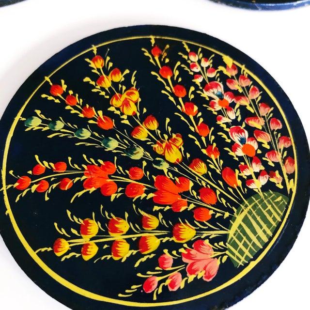 Asian Hand-Painted Floral Coaster Set For Sale - Image 3 of 6