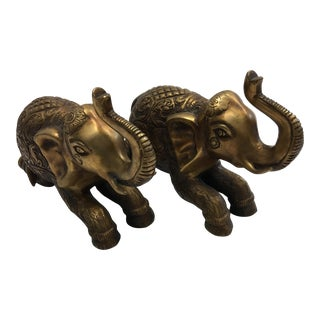 Decorative Bronze Asian Elephants - A Pair