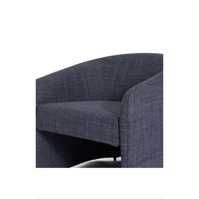 Blue Upholstered Barrel Back Lounge Chairs, 1970 - a Pair For Sale - Image 8 of 9