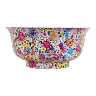 Chinese Antique 19 Century Famille Rose Thousand Flower Bowl With Ching Dynasty Yungzheng Mark For Sale