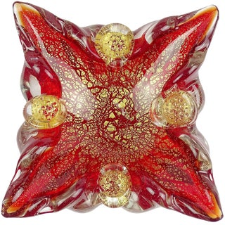 Barovier Murano Red Berry Decoration Gold Flecks Italian Art Glass Mid Century Spike Bowl For Sale