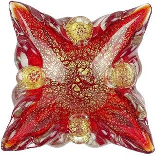 Barovier Murano Red Berry Decoration Gold Flecks Italian Art Glass Spike Bowl For Sale