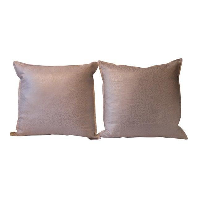 Kravet Couture Metallic Accent Pillows - A Pair For Sale