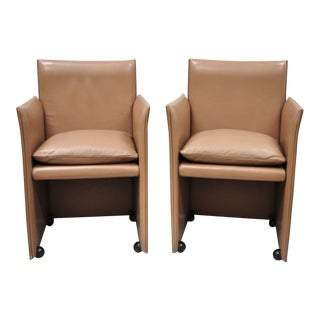 Mario Bellini for Cassina Copper Leather Pair 401 Break Armchair Dining Chairs - a Pair For Sale