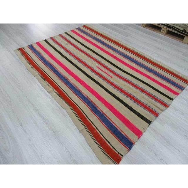 Vintage Colorful Striped Turkish Kilim Rug - 5′4″ × 7′8″ - Image 5 of 6