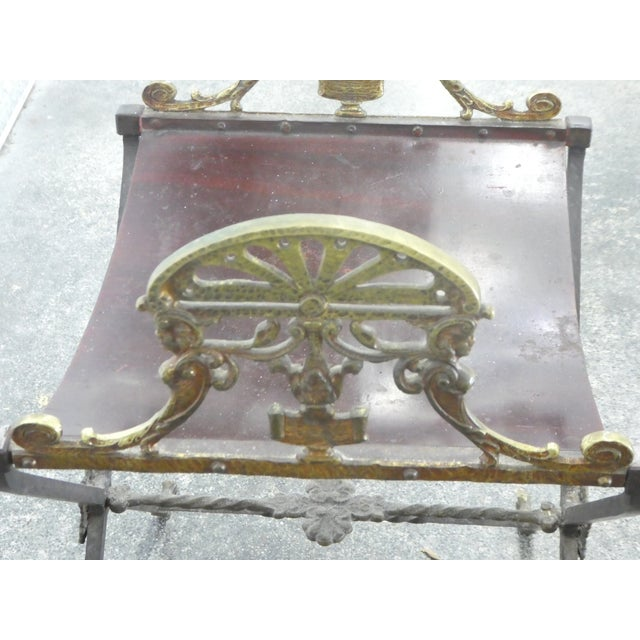 Metal 1920's Oscar Bach Style Mediterranean Iron and Brass Stool For Sale - Image 7 of 8