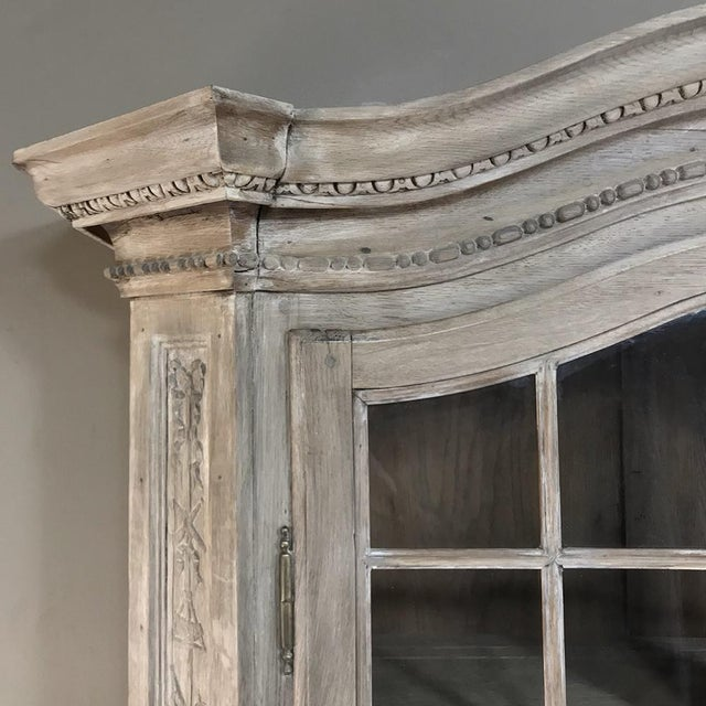 Oak 19th Century Country French Louis XVI Stripped Bookcase ~ Vitrine For Sale - Image 7 of 13