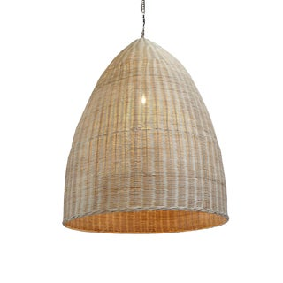 Raw Wicker Pod Lantern Small For Sale