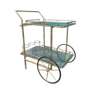 1970s Italian Brass Faux Bamboo Bar Cart For Sale