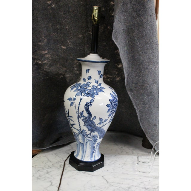 Blue Mid 20th Century Chinese Peacock Lamp For Sale - Image 8 of 8