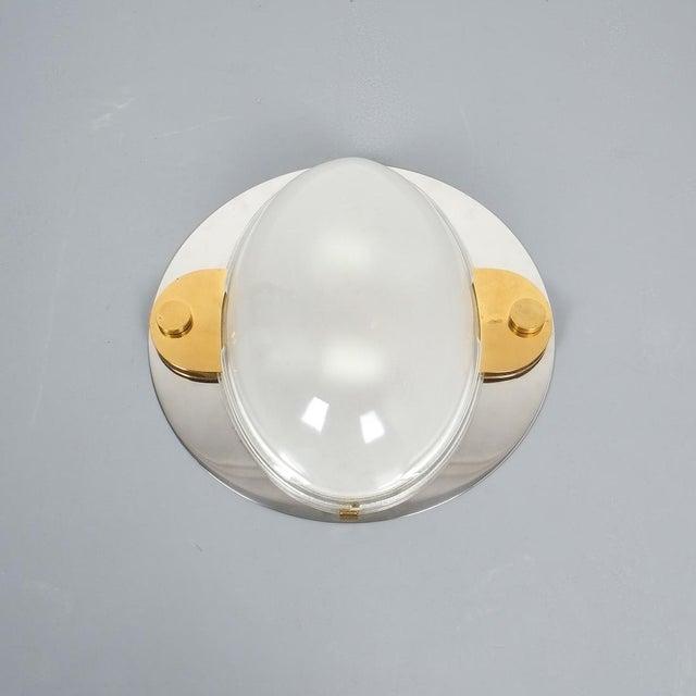 Luigi Caccia Dominioni Flush Mounts or Sconces Brass Chrome Glass, Circa 1978 For Sale - Image 10 of 13