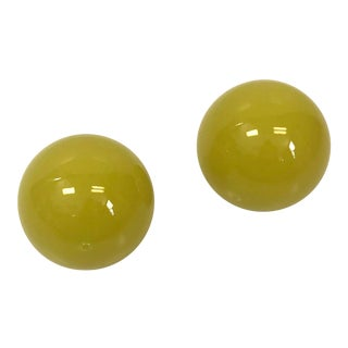 Matching Bright Yellow Green Sphere Paper Weights, Desk Accessory For Sale
