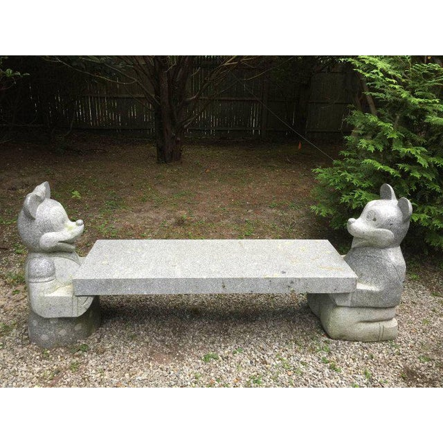 Mickey Mouse and Minnie Mouse Bench in Carved Solid Granite For Sale In Miami - Image 6 of 6