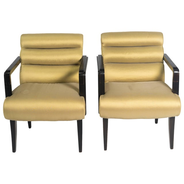 Early 21st Century Swaim Deco Style Armchairs- a Pair For Sale