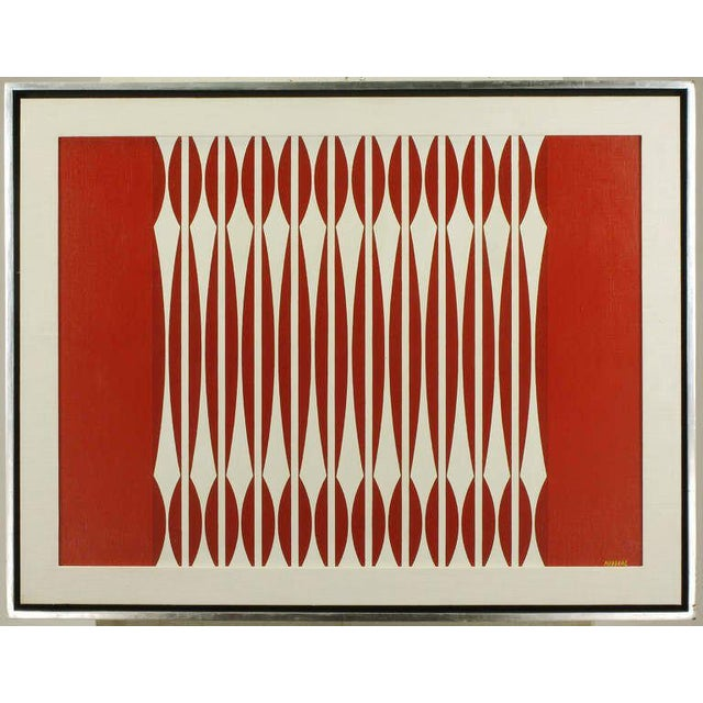 Red and off white oil on canvas optical art piece signed by the Yugoslavian artist, Dordevic Miodrag. (b. 1936). Framed in...