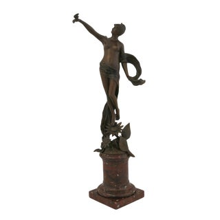 French Bronze Fairy Holding a Butterfly Franz Rosse Statue For Sale