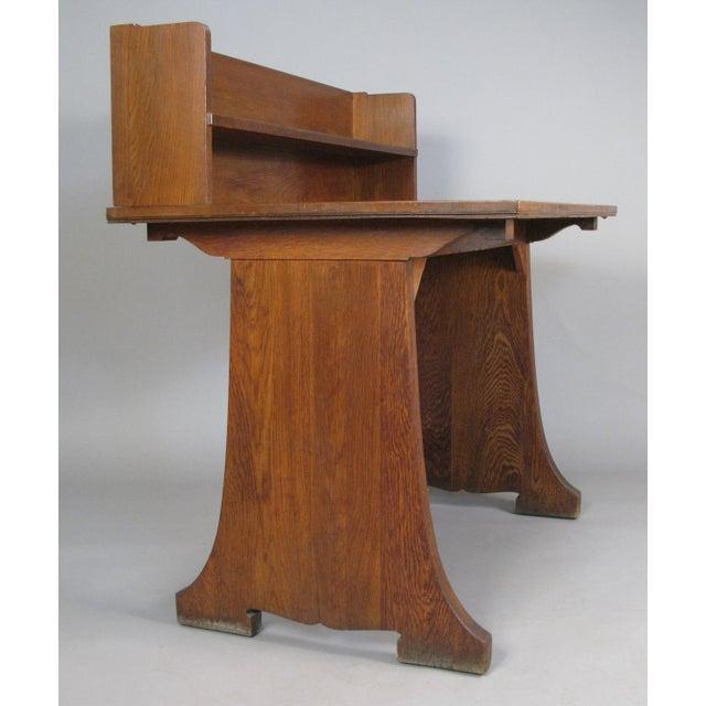 1920s Antique Arts & Crafts Oak Desk From Harvard Divinity School For Sale - Image 5 of 8