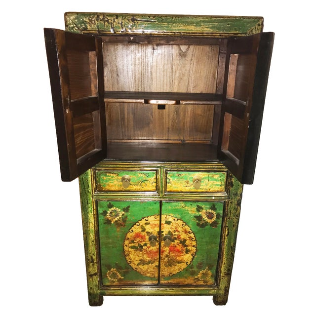 This is a beautiful impeccable 20th Century Chinese scholars' cabinet armoire. Hand lacquered painting traces back to...