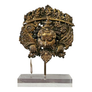 15th C. Gilt-Copper Kirtimukha Repousse Plaque For Sale