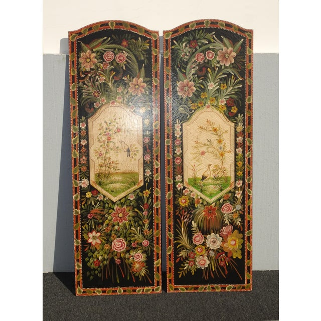 Vintage French Country Maitland Smith Style Wall Panels Floral Pictures For Sale - Image 12 of 12