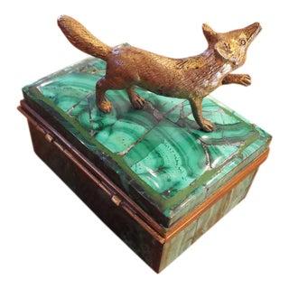 Malachite and Bronze Jewelry Box For Sale