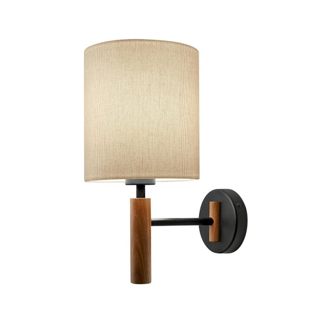 Satin Black and Walnut Wall Light With Shade For Sale - Image 4 of 4
