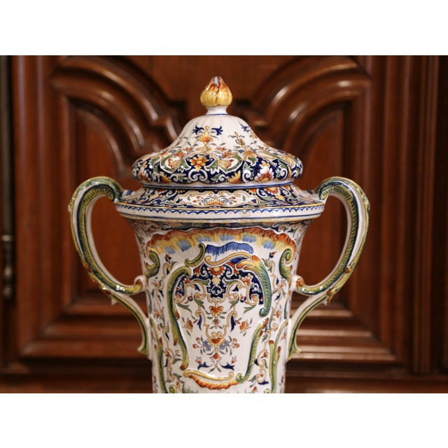 19th Century French Hand Painted Ceramic Vase With Lid From Normandy For Sale - Image 9 of 12