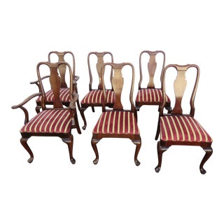 Solid Mahogany Set of Six Dining Chairs For Sale