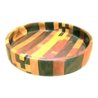 Mid-Century Modern Handmade Segmented Wood Accent Bowl For Sale