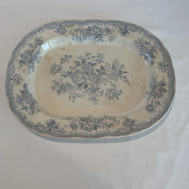 Ceramic Antique Blue and White C & E Asiatic Pheasants Platter For Sale - Image 7 of 7