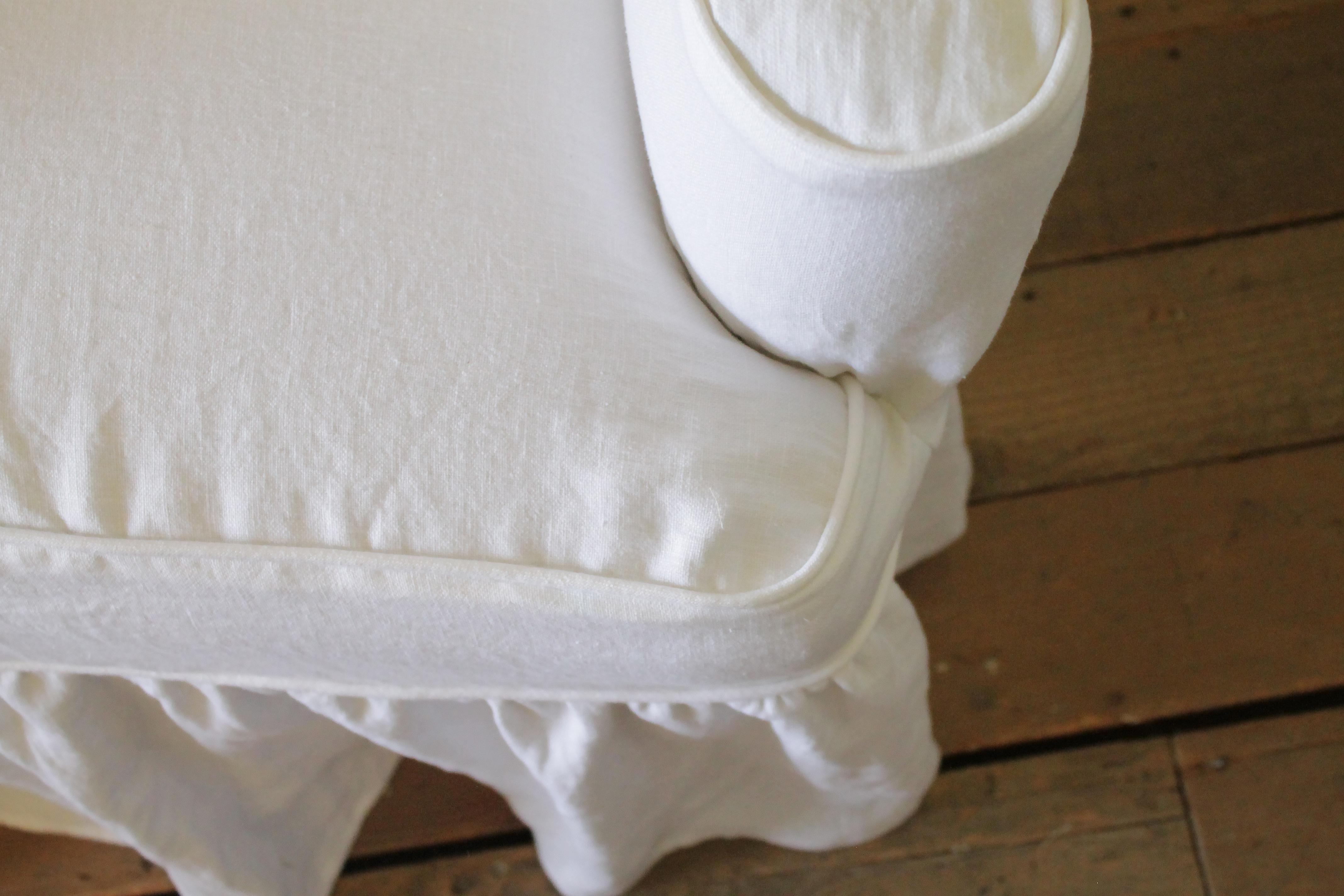 Captivating Modern White Linen Slip Covered Wingback Chairs With Ruffle Skirt   A Pair    Image 6