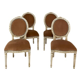 Set of 4 Antique French Louis XVI Painted Salon Chairs With Mohair For Sale