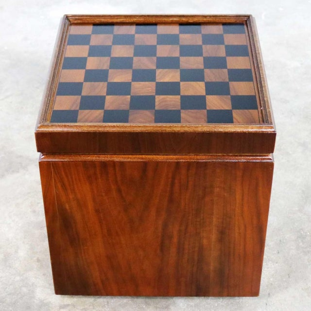 Mid Century Modern Lane Rolling Cube Storage Ottoman With Game Board Flip Table Top For Sale - Image 13 of 13