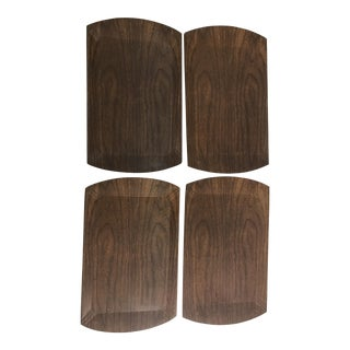 Mid-Century Wood Veneer Luncheon Trays - Set of 4 For Sale