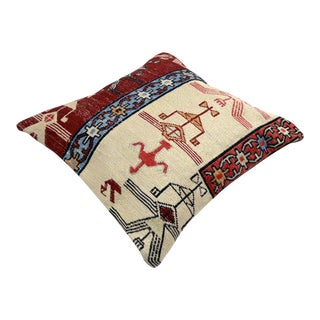 Hand Woven Silk Kilim Pillow Cover 16ʺ Square For Sale