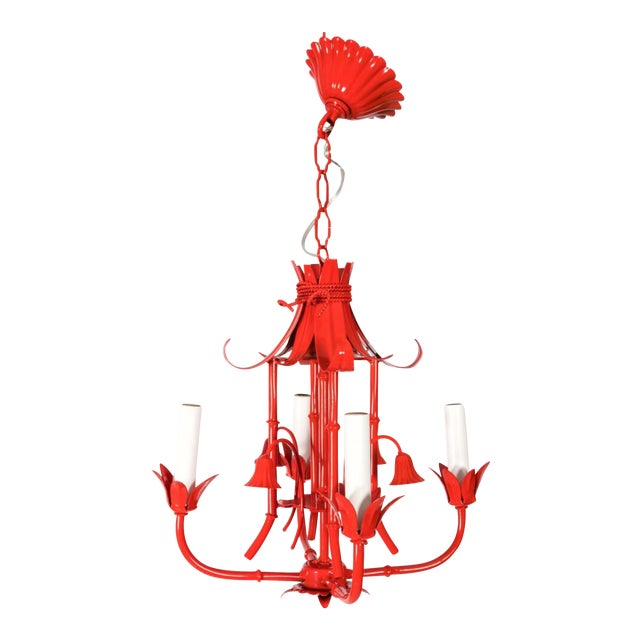 Chinoiserie Pagoda Small Red Chandelier For Sale