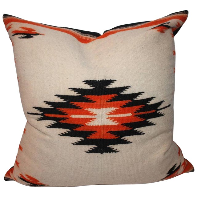 Monumental Navajo Indian Weaving Bolster Pillow For Sale