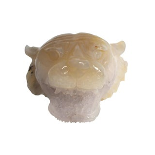 Amethyst Tiger Head Sculpture Paperweight For Sale